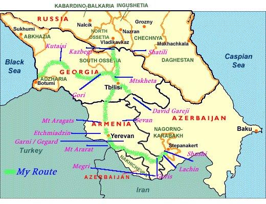 The Caucasus Snake Pit - Abkhazia map caucasus mountains