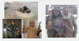 Upper left: Abdelhamid Abaaoud in battle dress. Lower left: Younes Abaaoud, Abdelhamid's 13 year-old brother, photographed in Syria. Right: Abdelhamid Abaaoud and another ISIS operative (Al-Arabiya, November 16, 2015).
